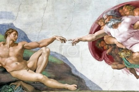 Photo for ROME, ITALY - MARCH 08: Michelangelo's masterpiece: The Creation of Adam in Sistine Chapel, Vatican Museum on March 08, 2011 in Rome, Italy - Royalty Free Image