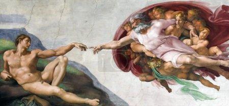 Photo pour Rome, Italie - mars 08 : Chef-d'œuvre Michel-Ange : la création d'Adam dans la chapelle Sixtine, musées du Vatican le 8 mars 2011 à Rome, Italie - image libre de droit