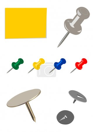 Colorful set of pushpins and tacks isolated on white background