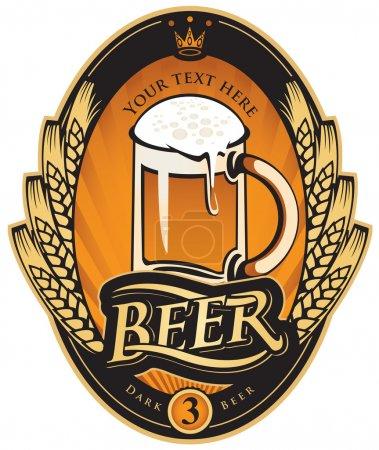 Illustration pour Étiquette avec un verre de bière et une couronne d'épis de blé - image libre de droit