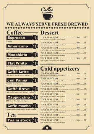 Illustration pour Prix pour les desserts et boissons chaudes - image libre de droit