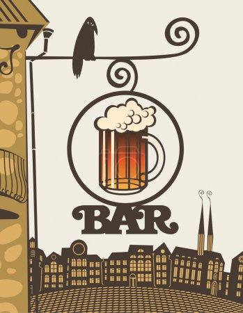 Illustration pour Signez avec un verre de bière et la barre de texte au coin de la maison - image libre de droit