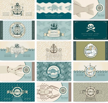 Illustration for Set of business cards on a sea theme and seafood - Royalty Free Image