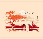 Chinese landscape with pagoda bridge and the frame of birds at sunset Chinese character Happiness