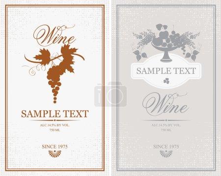 Illustration pour Deux étiquettes vectorielles pour le raisin, les fruits et les lilas - image libre de droit