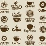 Set of logos on coffee...