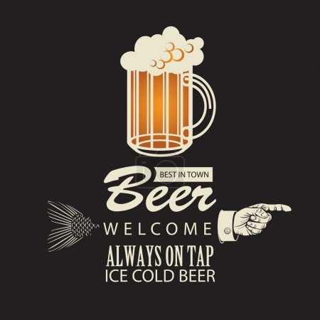 Illustration for Banner with a beer and a pointing finger - Royalty Free Image