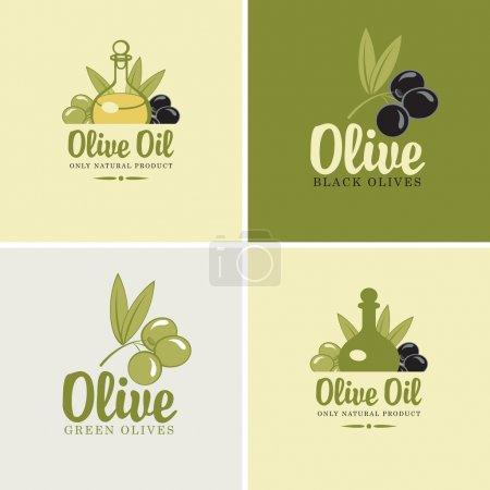 Illustration pour Ensemble de quatre bannières sur le thème des olives et des huiles - image libre de droit