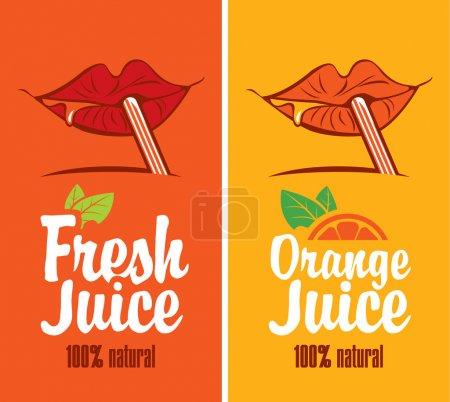 Illustration pour Bouche boit du jus d'orange à travers une paille - image libre de droit