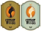 Two labels for wine with the profile of a girl