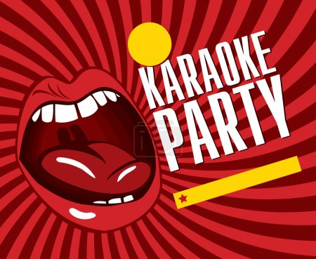 Red banner with mouth singing karaoke...