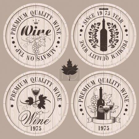 Illustration pour Quatre étiquettes pour le vin sur fûts en bois - image libre de droit