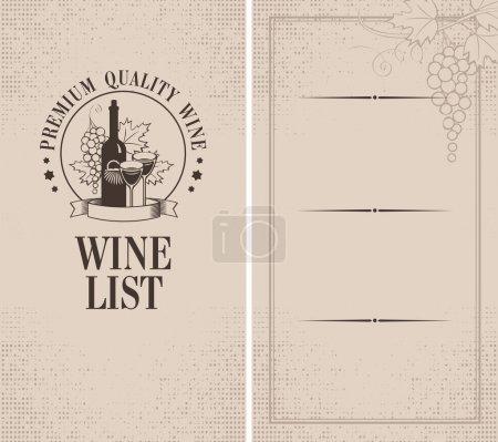 Illustration pour Menu avec une bouteille de vin, des verres et un bouquet de raisins - image libre de droit