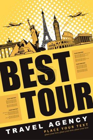 Illustration pour Meilleure tournée de bannière pour voyager avec des repères architecturaux - image libre de droit