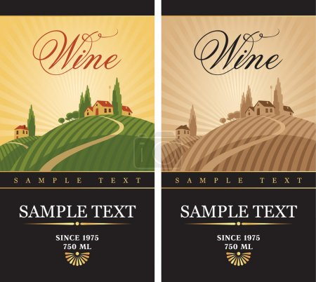 Ilustración de Etiquetas del vino con un paisaje de viñedos - Imagen libre de derechos