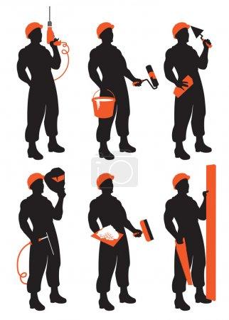 Illustration pour Ensemble de silhouettes vectorielles de travailleurs de la construction - image libre de droit