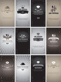 Set of business cards on the theme of food and drinks in style Black and white film