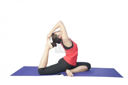 Young beautiful woman during fitness time yoga and exercisingl,