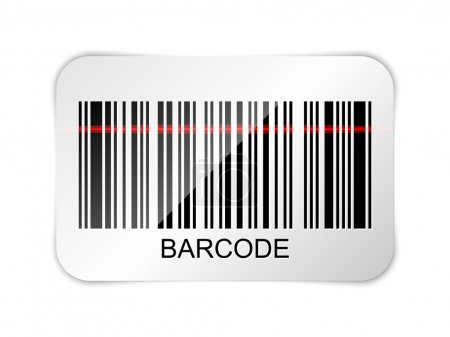 Vector barcode icon with red laser beam
