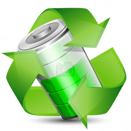 Battery with recycle symbol - renewable energy concept. Vector i