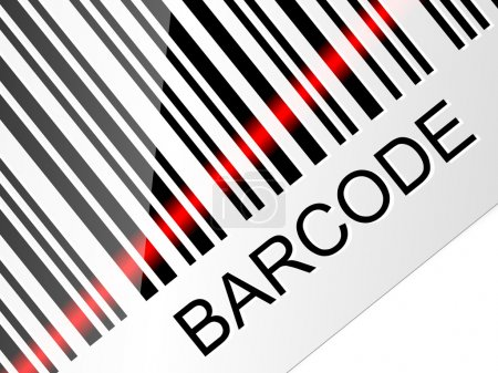 Closeup barcode with red laser beam. Vector illustration