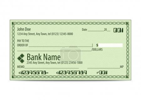 Illustration pour Illustration vectorielle du chèque bancaire vierge - image libre de droit