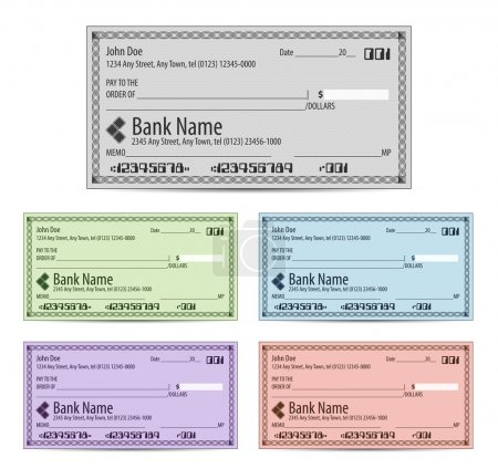 Illustration for Vector illustration of blank bank checks in different colors - Royalty Free Image