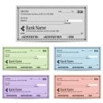 Vector illustration of blank bank checks in differ...
