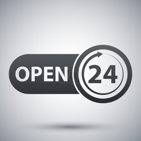 Vector open 24 hours icon
