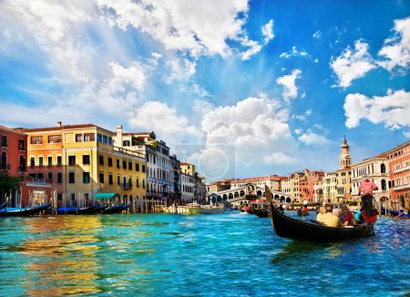 Photo for Venice Grand canal with gondolas and Rialto Bridge, Italy in summer bright day - Royalty Free Image