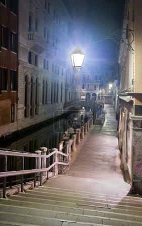 Venice street at night, Italy