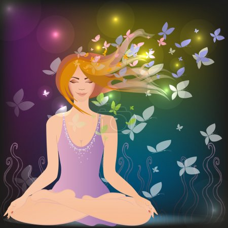 Illustration for Woman meditating in the magic forest - Royalty Free Image
