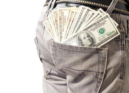 Dollar in his back pocket blue jeans.