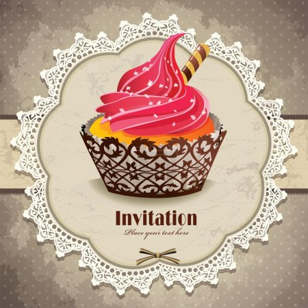 Illustration pour Cadre vintage avec modèle d'invitation cupcake - image libre de droit