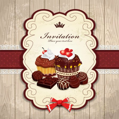 Illustration for Vintage frame with chocolate cupcake template - Royalty Free Image
