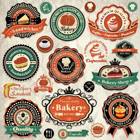 Collection of vintage retro grunge bakery food labels, badges and icons