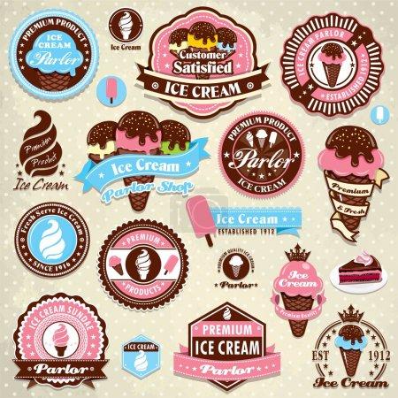 Illustration pour Modèle d'étiquette de crème glacée vintage - image libre de droit