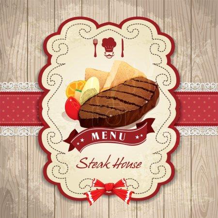 Vintage frame with Steak set template