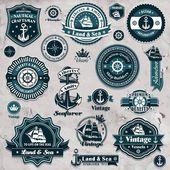 Vintage nautical label icon set template