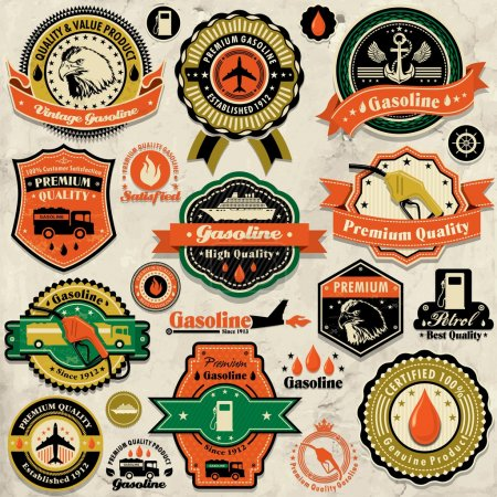 Vintage gasoline label set template