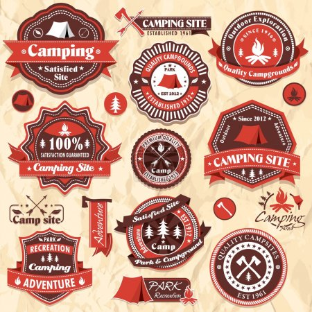 Illustration for Vintage retro camping labels, icon collection sets - Royalty Free Image