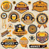 Vintage-Rahmen mit Honig Etikett Vorlage festlegen