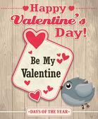 Vintage Valentine poster design with bird