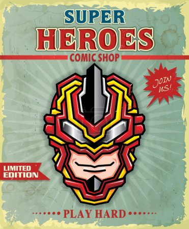 Vintage Super hero comic shop poster design