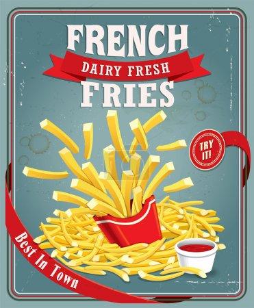Illustration pour Vintage frites affiche design - image libre de droit