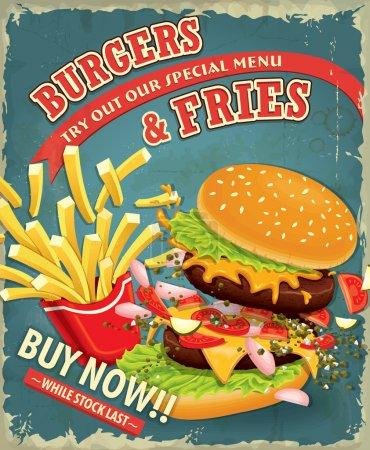 Vintage Burgers with fries set poster design