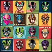 Vintage Super Heroes poster set design