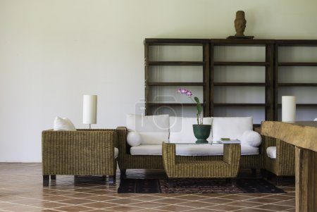 rattan and wood furniture interior decoration