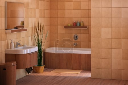 Photo for Brown wood bathroom - Royalty Free Image