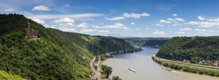 Panorama of the Rhine valley with medieval castle ...